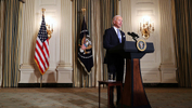 U.S. President Joe Biden swears in presidential appointees in a virtual ceremony in the State Dining Room of the White House in Washington, after his inauguration as the 46th President of the United States, U.S., January 20, 2021. - REUTERS/Tom Brenner