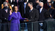 Kamala Harris is sworn in as U.S. Vice President as her spouse Doug Emhoff holds a bible during the inauguration of Joe Biden as the 46th President of the United States on the West Front of the U.S. Capitol in Washington, U.S., January 20, 2021. -  REUTERS/Kevin Lamarque