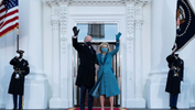 U.S. President Joe Biden and first lady Jill Biden wave as they arrive at the North Portico of the White House in Washington, DC, U.S. January 20, 2021. - Alex Brandon/Pool via REUTERS
