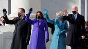 President-elect Joe Biden, his wife Jill Biden, Vice President-elect Kamala Harris and her husband Doug Emhoff salute as they arrive ahead of the inauguration of Biden, in Washington, U.S., January 20, 2021. - REUTERS/Mike Segar